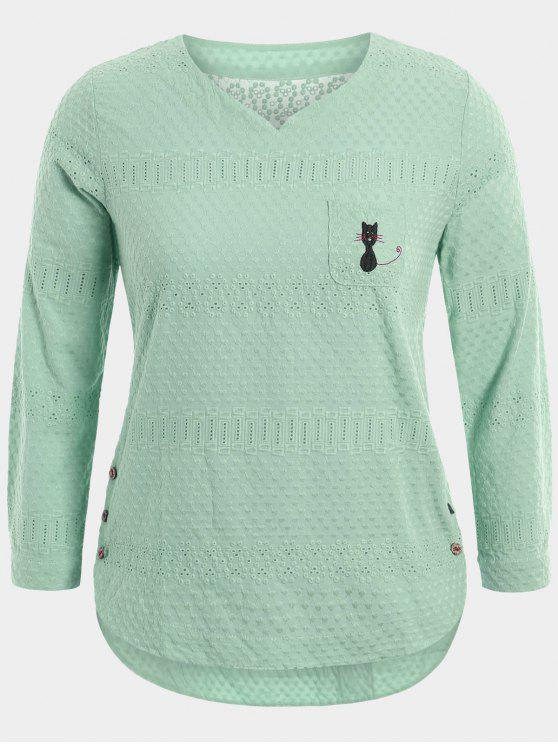 ladies Cartoon Embroidered Plus Size Blouse with Pocket - LIGHT GREEN 3XL