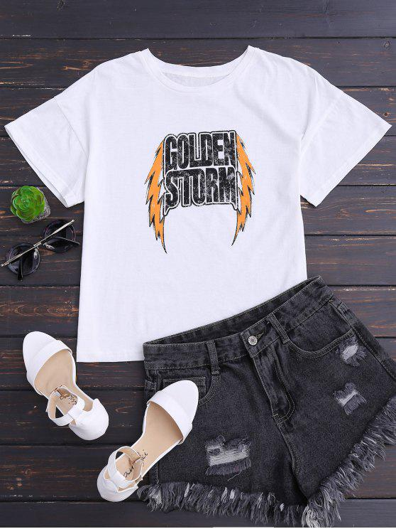 Camiseta de algodón con letra de hombro de gota - Blanco S
