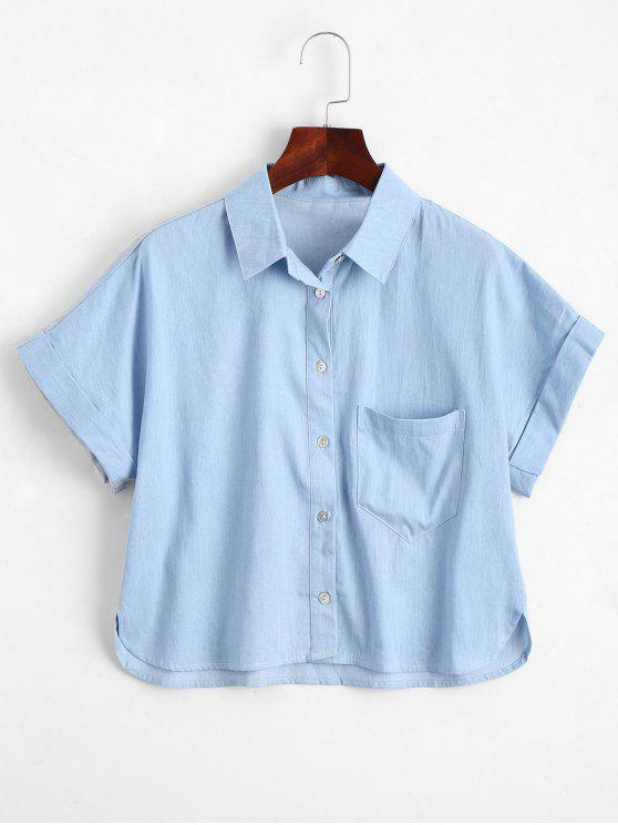 shops Graphic Button Down Shirt with Pocket - LIGHT BLUE XL