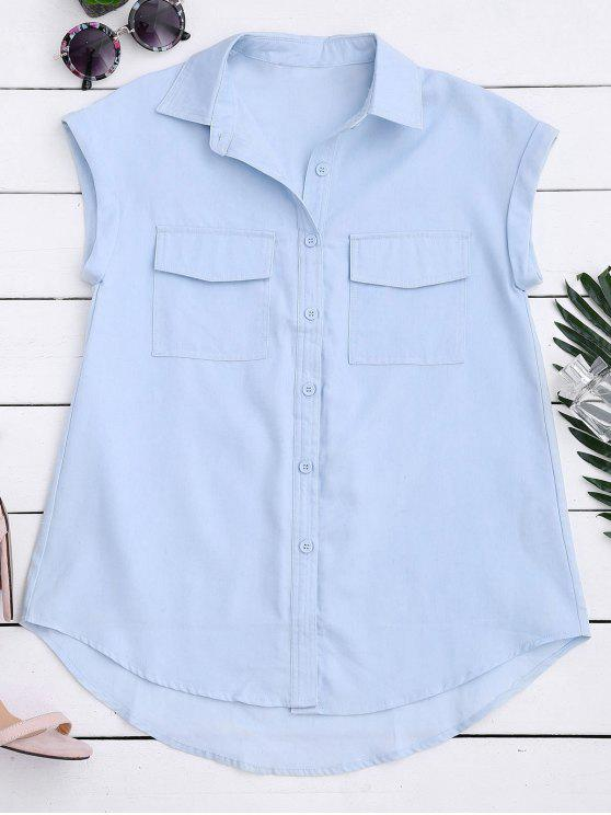 Sleeveless button down shirt with pockets light blue for Sleeveless cotton button down shirts