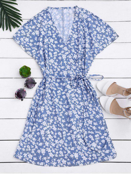 fancy Mini Tiny Floral Wrap Dress - FLORAL M