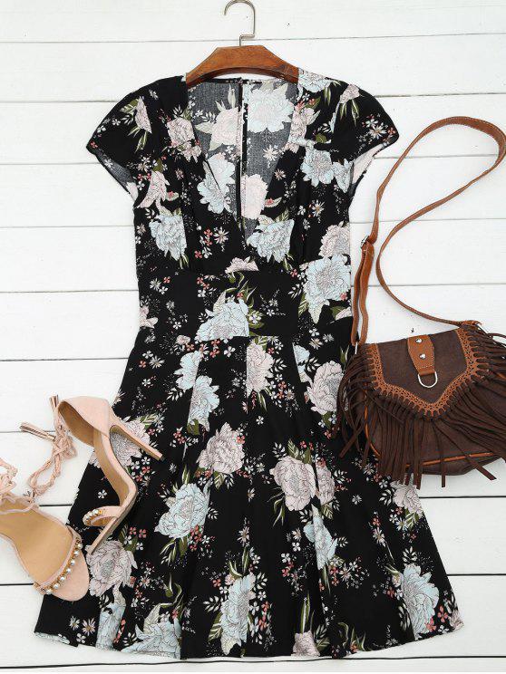robe jaune et droite à col plongeant en floral  et à manches courtes et en mousseline de soie - Noir L