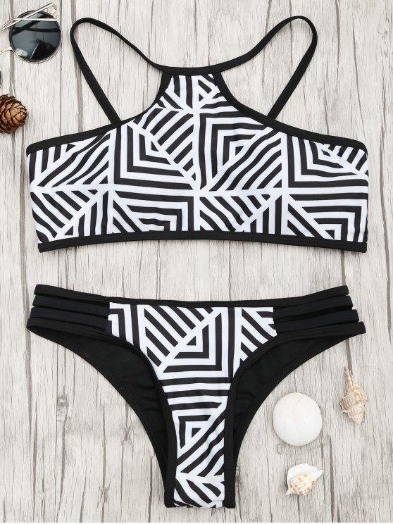 Conjunto de bikini acolchado con estampado de rayas - Blanco y Negro S