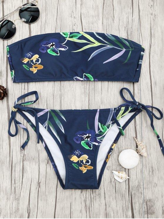 trendy Tropical Print Bandeau Bikini Set - NAVY BLUE L
