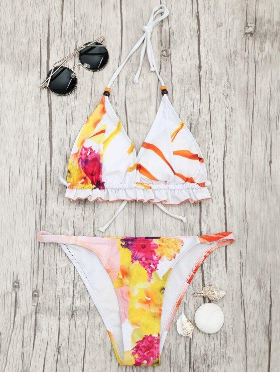 sale Floral Print Padded Tanga Bikini Set - MULTICOLOR S
