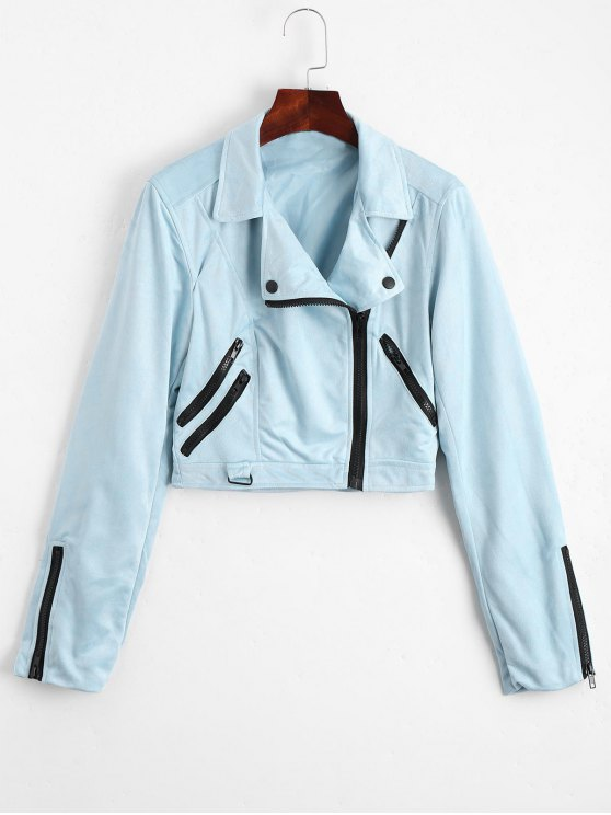 womens Fuax Suede Zip Up Cropped Jacket - LIGHT BLUE L