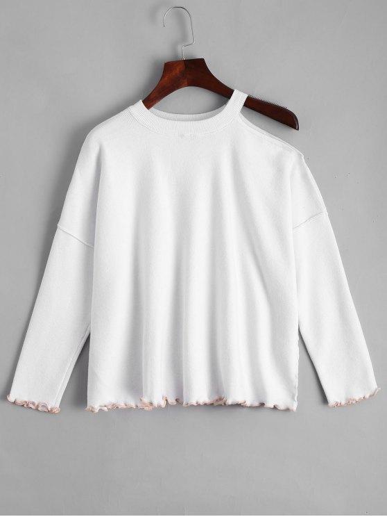 Ruffled suéter de hombro frío flojo - Blanco M