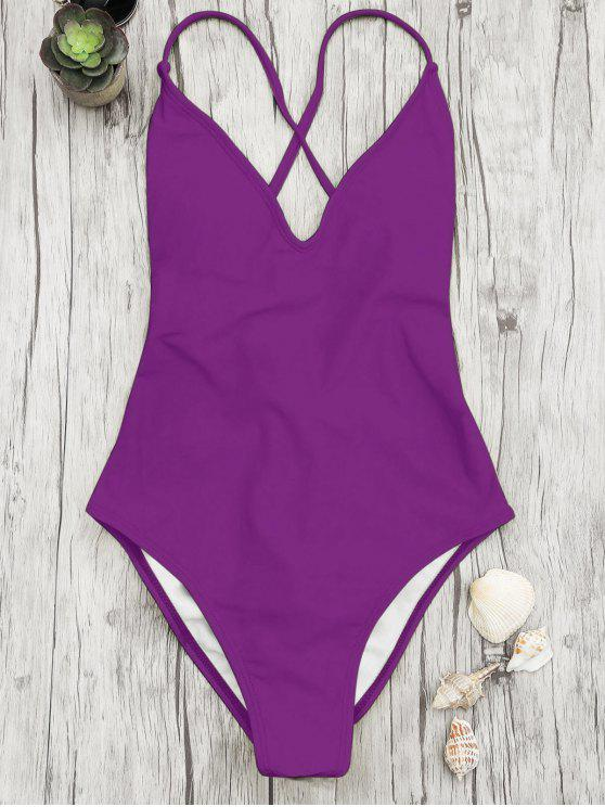 outfits V Neck High Cut One Piece Swimsuit - PURPLE L