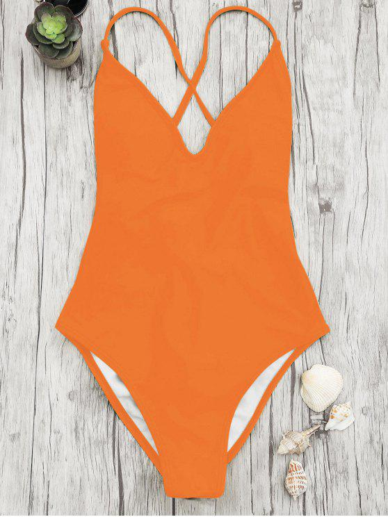 fashion V Neck High Cut One Piece Swimsuit - ORANGE S