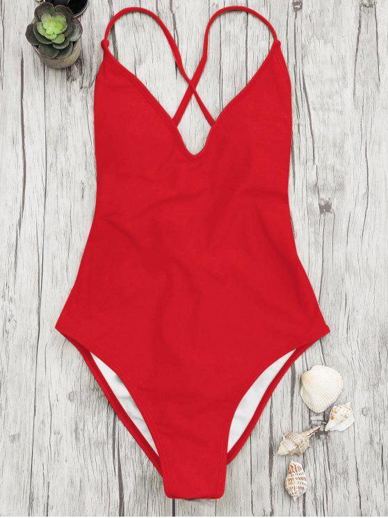 V cuello alto corte de una pieza traje de baño - Rojo L