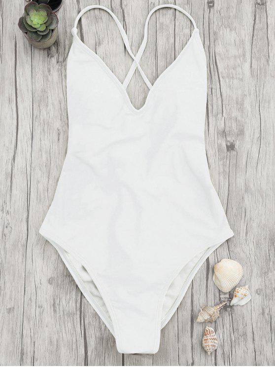 V cuello alto corte de una pieza traje de baño - Blanco L