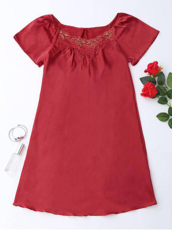 womens Short Sleeve Satin Lounge Sleep Dress - RED 2XL