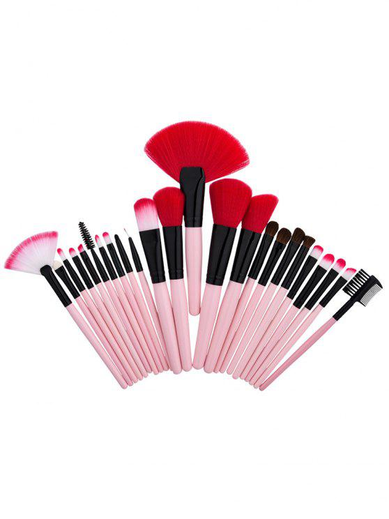 Conjunto de escovas de maquiagem de tubo de alumínio de nylon - Rosa