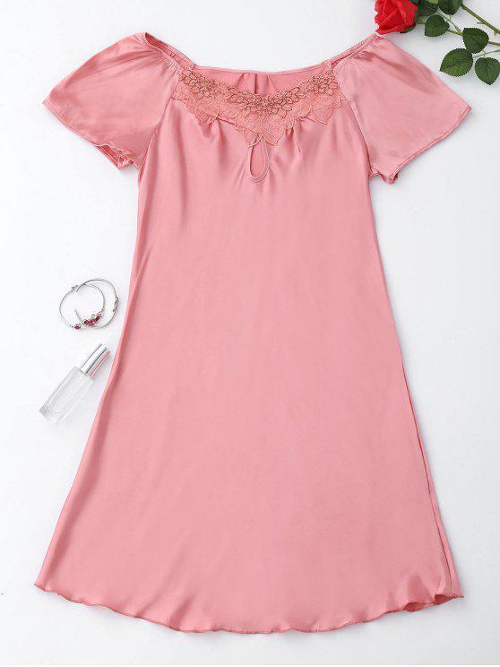 Robe de sommeil en satin à manches courtes - ROSE PÂLE M