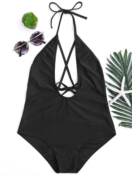 women Halterneck Strappy Plunge One Piece Swimsuit - BLACK S