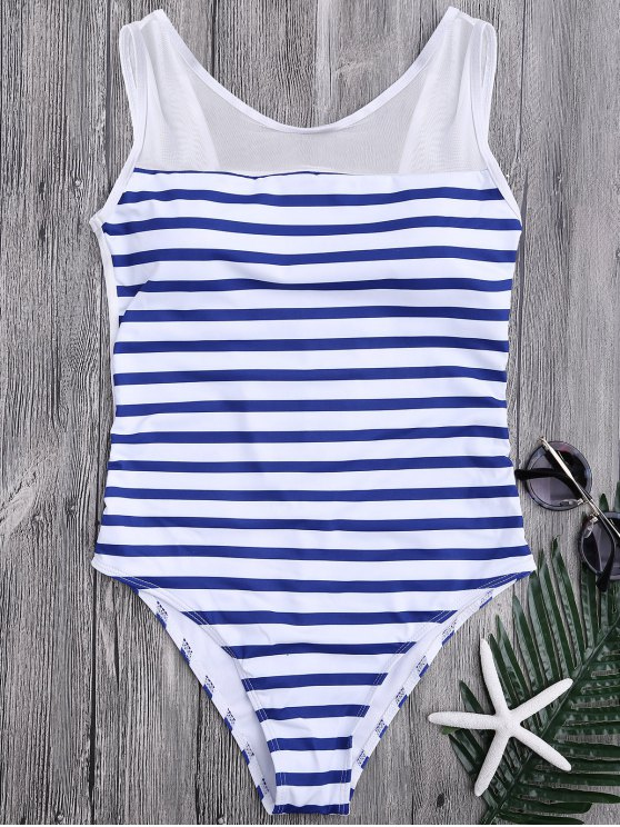 ladies Mesh Inset Nautical Striped One Piece Swimsuit - BLUE AND WHITE M