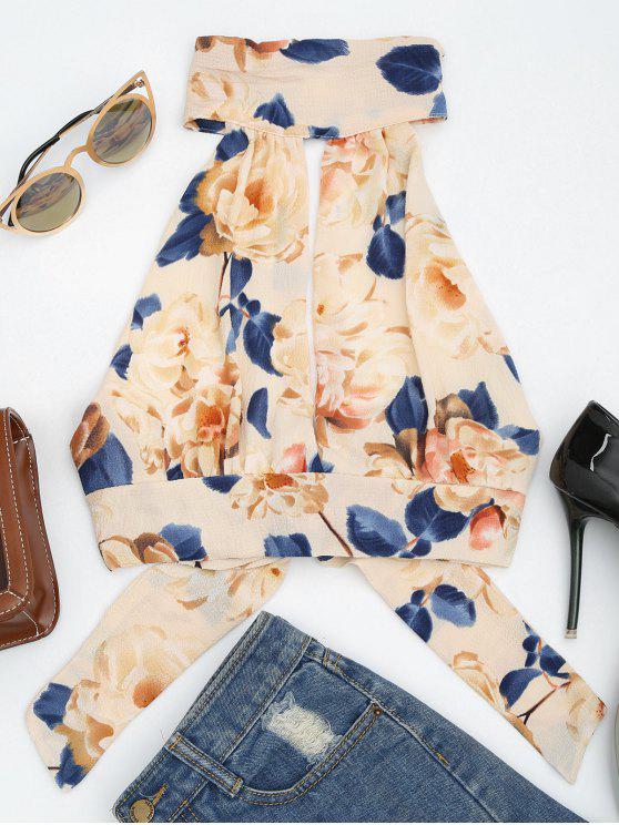 Tapa de corte sin mangas con estampado floral - Albaricoque S
