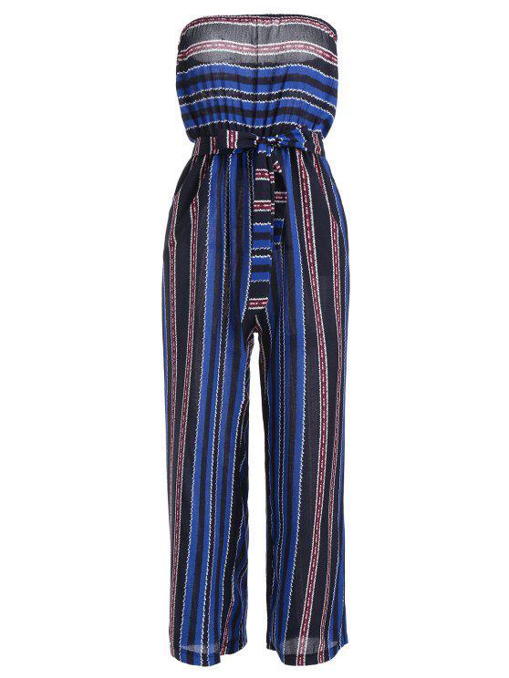 Sin tirantes cinturón con rayas Jumpsuit - Azul Única Talla