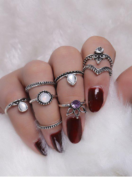 lady Faux Crystal Opal Teardrop Ring Set - SILVER