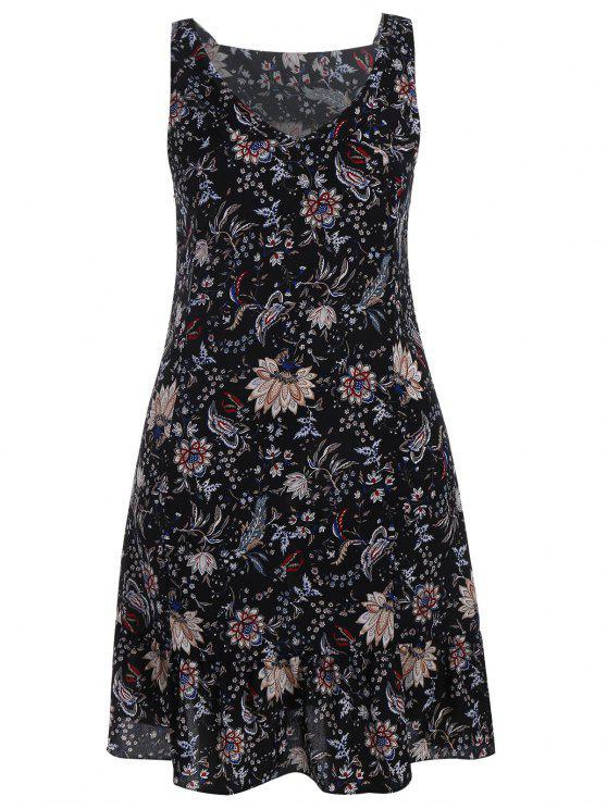 Vestido de talla grande con cuello de flores - Negro 3XL