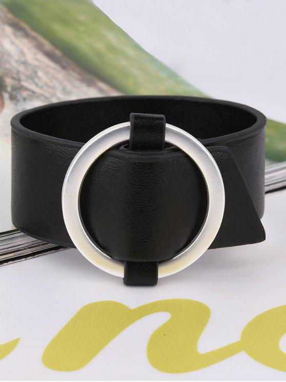 online Artificial Leather Metal Circle Bracelet - BLACK