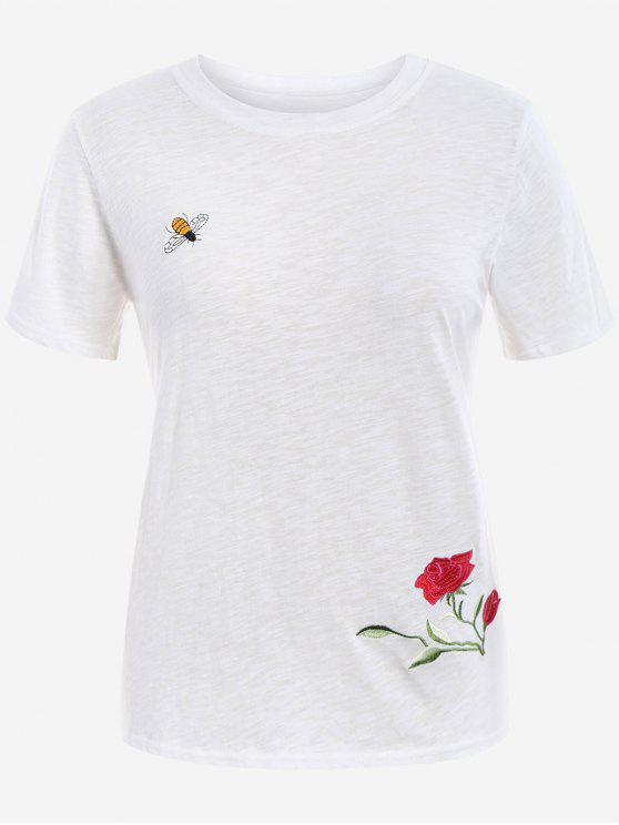 Floral Bee Embroidered Plus Size Tee - Blanc 3XL