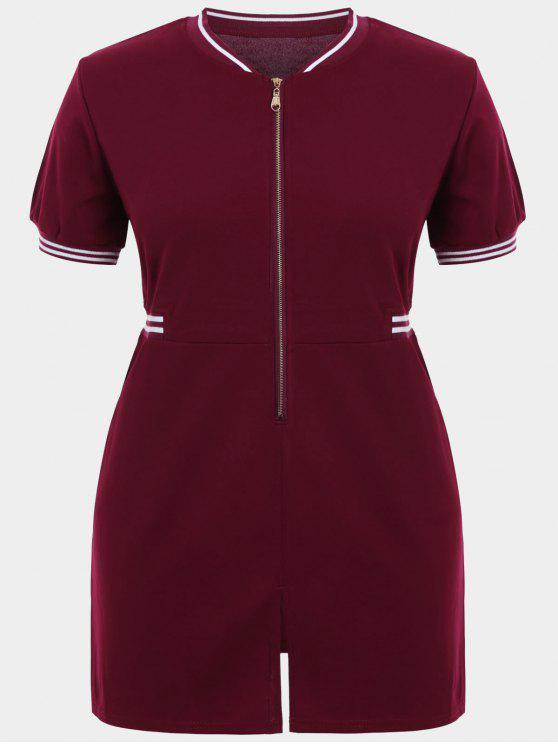 Zipper Contraste Stripe Vestido de talla grande con bolsillos - Vino Rojo 2XL