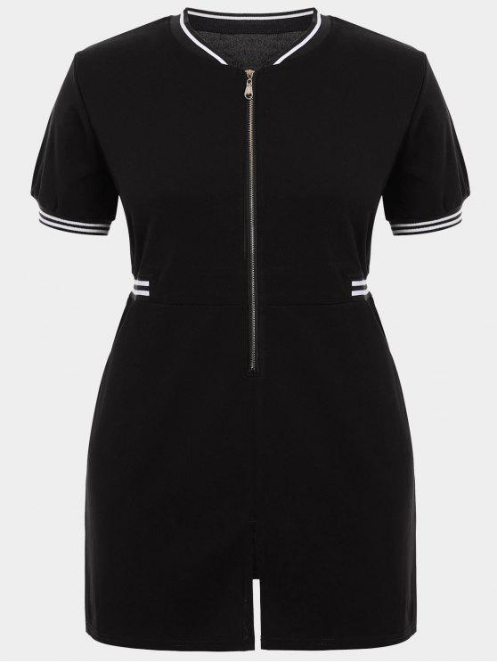 Zipper Contraste Stripe Vestido de talla grande con bolsillos - Negro 3XL