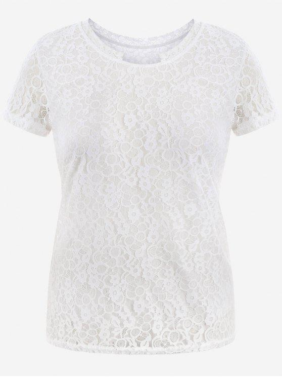 buy Short Sleeve Plus Size Lace Top - WHITE 4XL