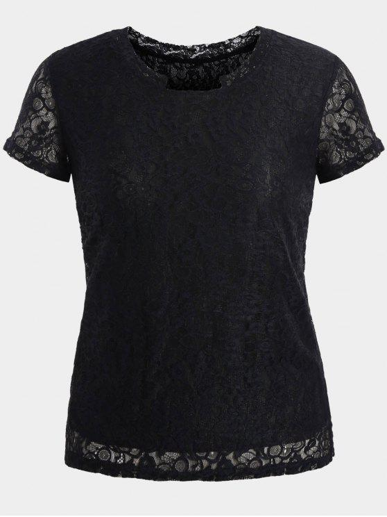 women Short Sleeve Plus Size Lace Top - BLACK 4XL