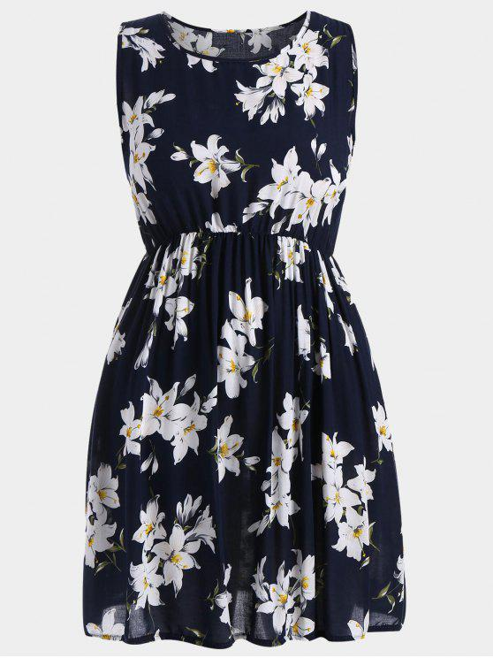 A Line Sleeveless Floral Plus Size Dress - Azul Escuro 5XL