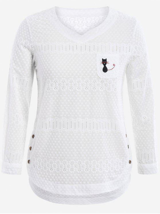 fancy Cartoon Embroidered Plus Size Blouse with Pocket - WHITE 2XL