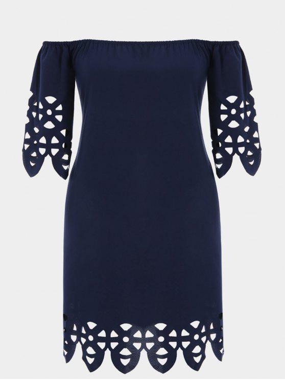 Plus Size fuori dal vestito dal trapezio del taglio del laser della spalla - Blu Violaceo 4XL