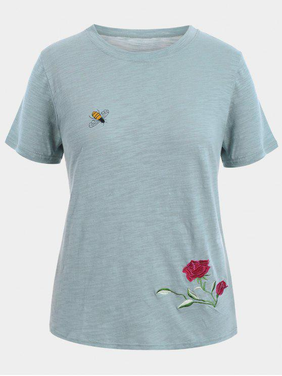 unique Floral Bee Embroidered Plus Size Tee - GRAY 3XL