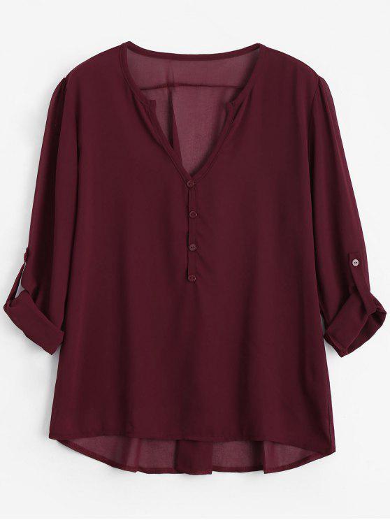 Botón con cuello en V embellecido blusa - Vino Rojo 2XL
