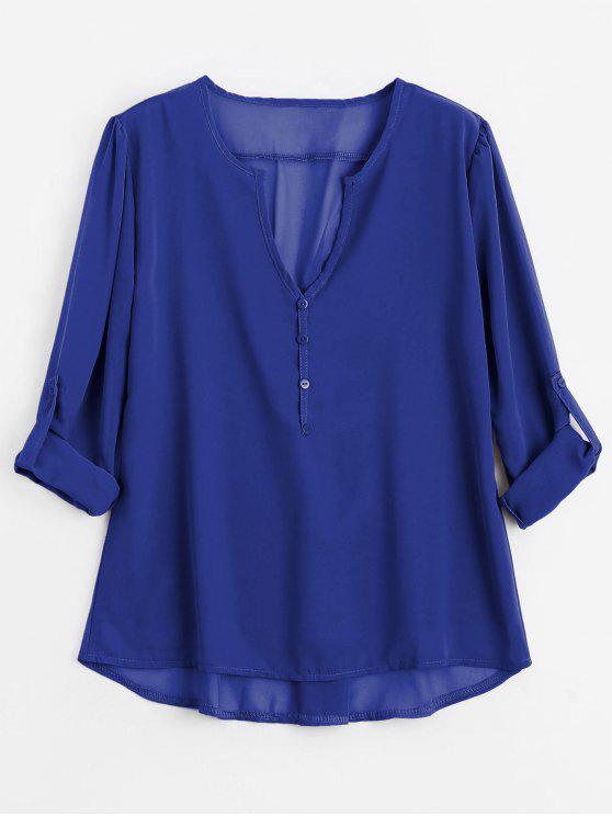Botón con cuello en V embellecido blusa - Azul S