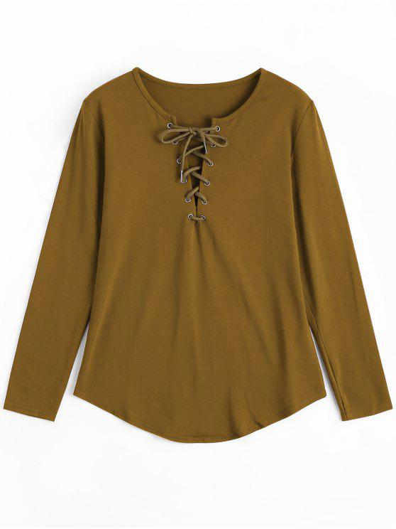 chic Lace Up Long Sleeve Plunge Tee - EARTHY S