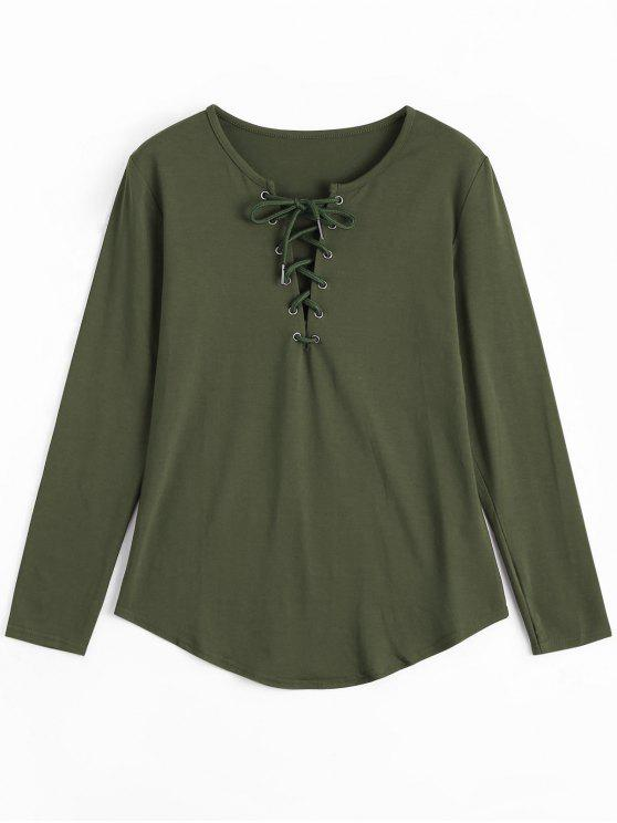 women's Lace Up Long Sleeve Plunge Tee - ARMY GREEN S
