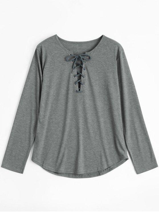 Ate la camiseta larga de la zambullida de la manga - Gris XL