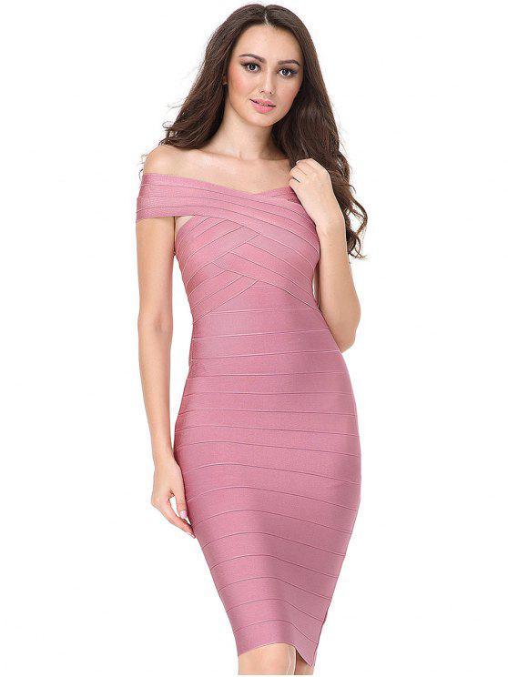 best Off The Shoulder Fitted Bandage Dress - PINK S