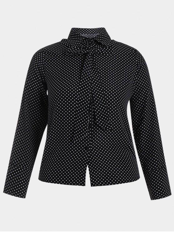 Chemise à manches longues Bowknot Polka Dot Plus - Noir 5XL