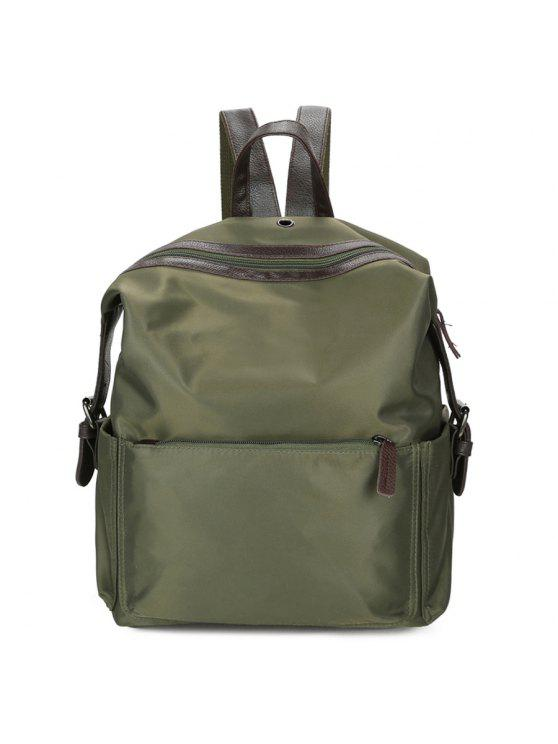 trendy Nylon Backpack with Headphone Hole - GREEN