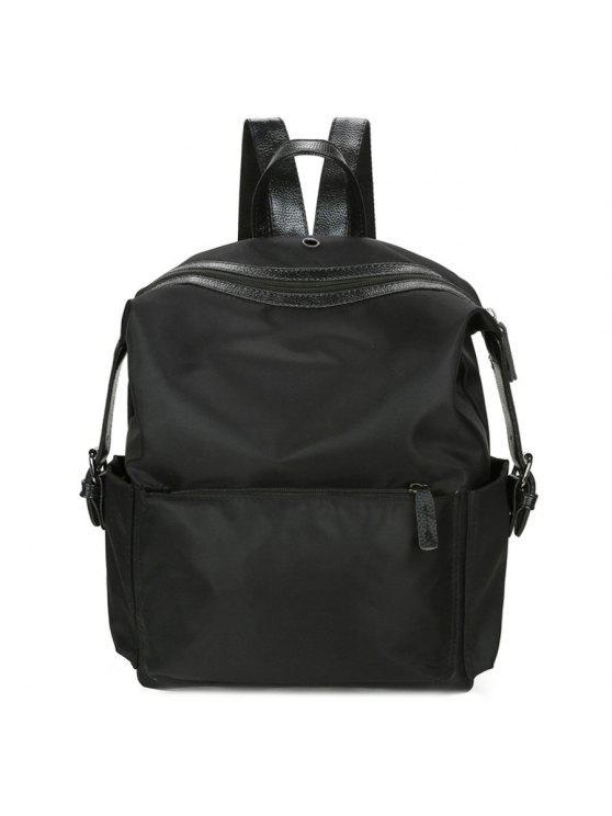latest Nylon Backpack with Headphone Hole - BLACK