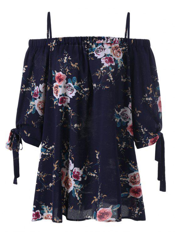 latest Plus Size Floral Cold Shoulder Blouse - PURPLISH BLUE 5XL