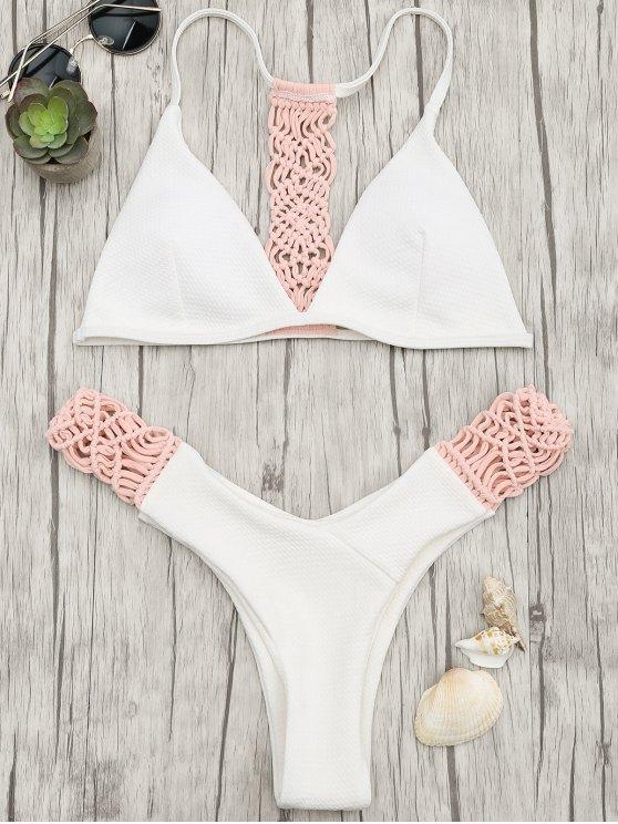 lady Padded Macrame Thong Bikini Set - PINK AND WHITE L