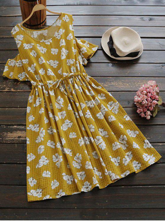 outfits Drawstring Cold Shoulder Floral Dress - GINGER ONE SIZE