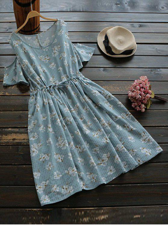 shop Drawstring Cold Shoulder Floral Dress - BLUE GRAY ONE SIZE