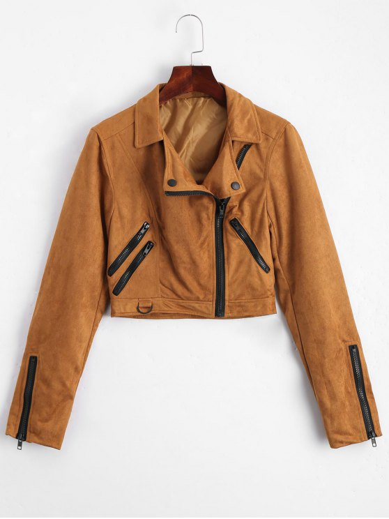 best Fuax Suede Zip Up Cropped Jacket - LIGHT COFFEE M