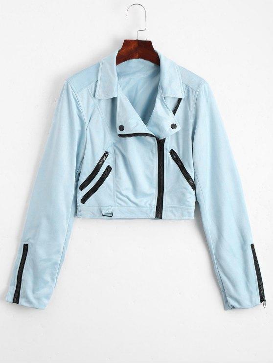 women Fuax Suede Zip Up Cropped Jacket - LIGHT BLUE M