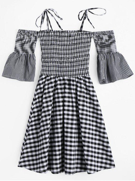 فستان منقوش سموكيد كامي توهج الاكمام - مربع النقش M